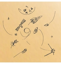 hand drawn of planets ans space objects vector image vector image