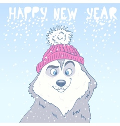 Husky New Year vector image vector image
