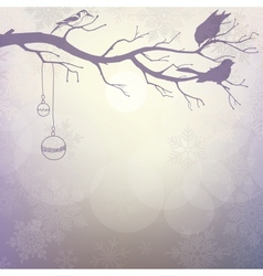 Light winter background with silhouette of branch vector image
