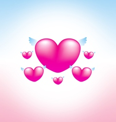 Love heart pink background 2 vector image vector image