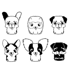 Set of cartoon puppies Black and white vector image vector image