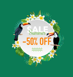summer sale tropical flowers and birds banner vector image vector image