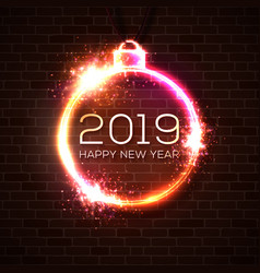 2019 happy new year greeting card in neon style vector image