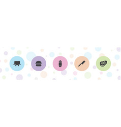 5 beef icons vector