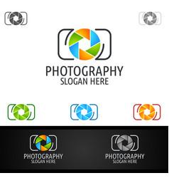 Abstract camera photography logo icon design vector