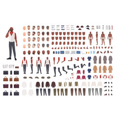 African american man creation set or avatar kit vector