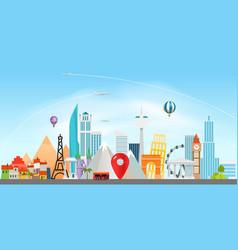 Around the wotld concept travel destination vector