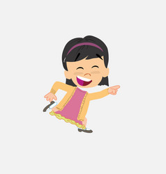 Asian girl running smiling vector