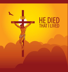 Banner with jesus christ crucified on cross vector