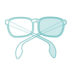 blue silhouette shading cartoon fashion glasses vector image