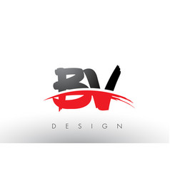 Bv b v brush logo letters with red and black vector