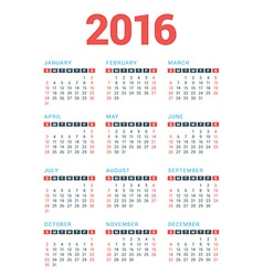 Calendar for 2016 Year on White Background Week vector image