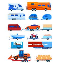 Camper trailer transport set vector
