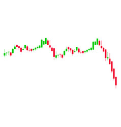 Candlestick graph falling acceleration flat icon vector
