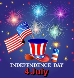 Card Independence Day with fireworks vector