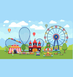 Cartoon amusement park with circus carousels and vector