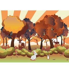 Cartoon Autumn Forest with Animals5 vector