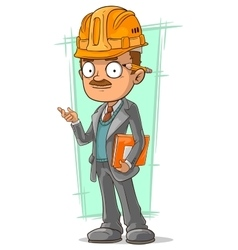 Cartoon clever engineer with pencil vector