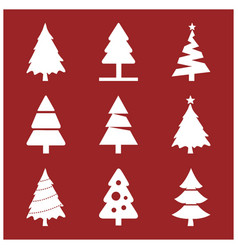 christmas set of trees vector image