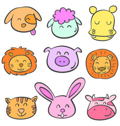 collection stock animal colorful doodles vector image