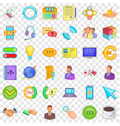 connect internet icons set cartoon style vector image