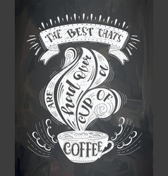 cup of coffee with lettering on the chalk vector image