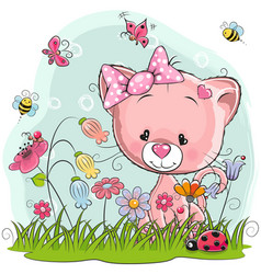 Cute cartoon kitten on a meadow vector
