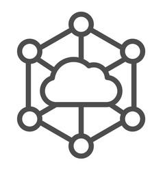 Data cloud line icon computer storage vector