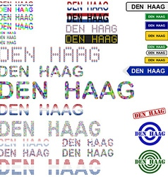 Den Haag text design set vector