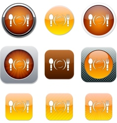 Dinner orange app icons vector image