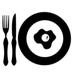 dish and cutlery with egg fried vector image