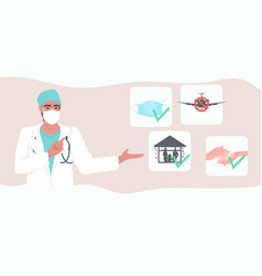 Doctor explaining basic protective measures vector