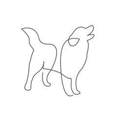 dog one line drawing on white vector image