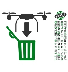Drone Drop Trash Icon With Bonus vector image