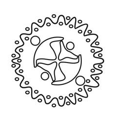 Emblem commitment teamwork together outline logo vector