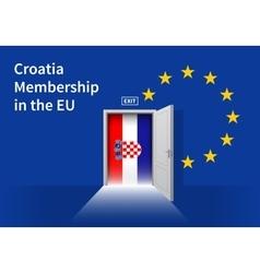 European Union flag wall with Croatia flag door vector