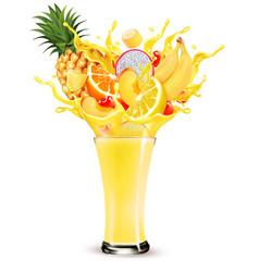 exotic fruit juice splash whole and sliced vector image