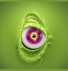 eye of a scary green monster vector image