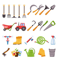 Farming equipment icons set cartoon style vector