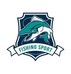Fishing sport club badge with tuna fish icon vector