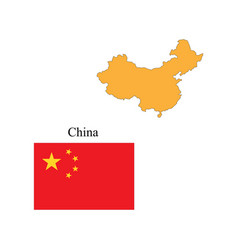 flag and outline of china vector image