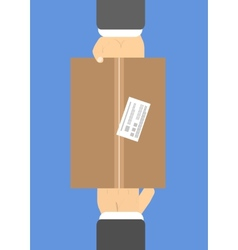 Flat delivery box and two hand vector image