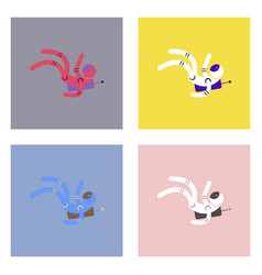 Flat icon design collection falling astronaut vector
