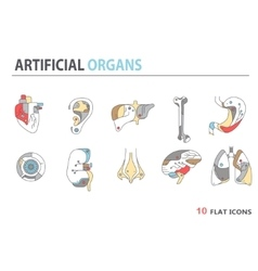 Flat icons - artificial organs 4 vector image