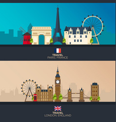 france and england tourism travelling vector image