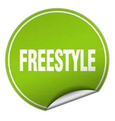 Freestyle round green sticker isolated on white vector