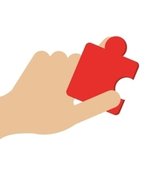 hand holding puzzle piece icon vector image