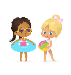 happy afro american caucasian girl in swimsuit vector image