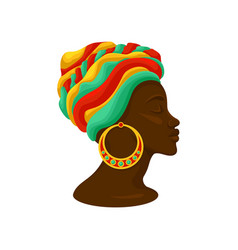 head of young black woman in a turban side view vector image