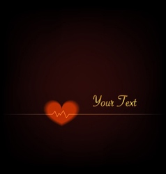 Heartbeat love red background vector